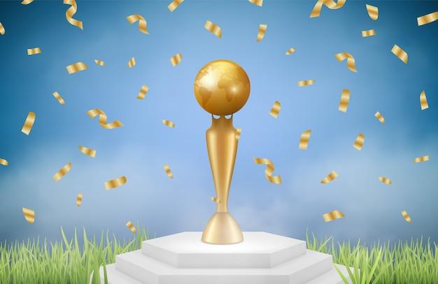 Realistyczne trofeum. złota nagroda sportowa na trawie z spadającym konfetti