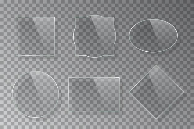 Realistyczne trójwymiarowe kręcone ramki szklane na białym tle.