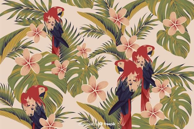 Realistyczne tropikalne liście i ptaki tło