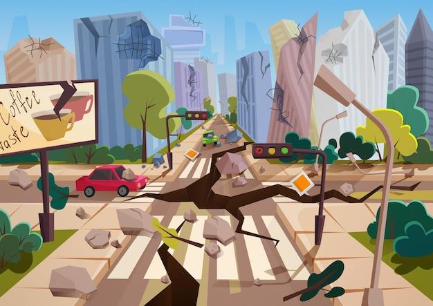 Realistyczne trzęsienie ziemi ze szczelinami w ziemi w rysunkowych zrujnowanych miejskich domach miejskich z pęknięciami i uszkodzeniami. klęska żywiołowa lub kataklizm, ilustracja wektorowa katastrofy przyrody