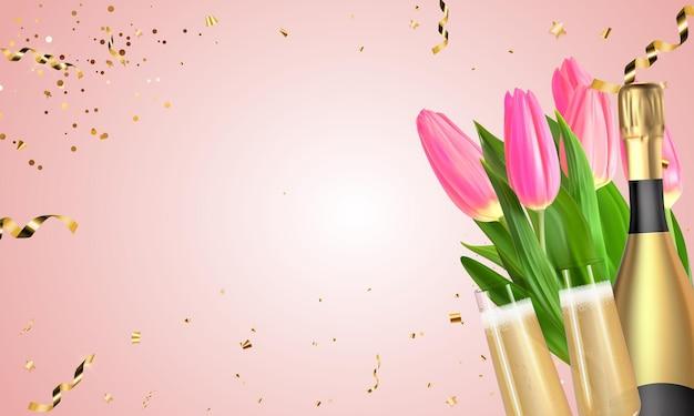 Realistyczne tulipany 3d, tło złote butelki szampana i okulary.