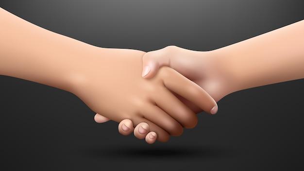 Realistyczne uścisk dłoni na ciemnym tle, koncepcja partnerstwa i zaufania. ilustracja