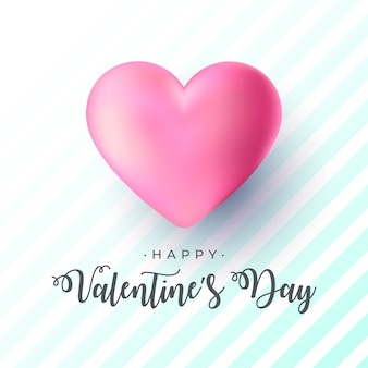 Realistyczne walentynki transparent z dużym różowym sercem