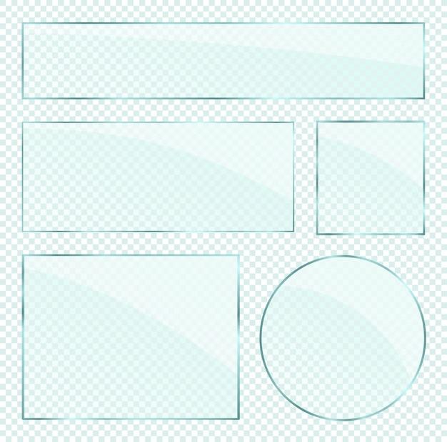 Realistyczne warstwy szklanych płyt na przezroczystym tle alfa