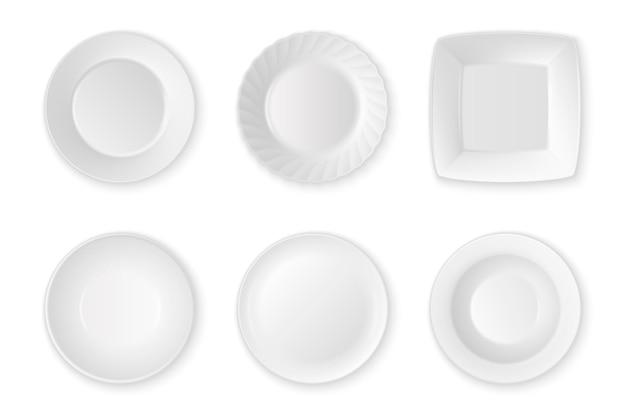 Realistyczne wektor biały jedzenie pusty talerz ikona zestaw zbliżenie na białym tle. przybory kuchenne do jedzenia. zaprojektuj szablon, makiety do grafiki, nadruku itp. widok z góry.