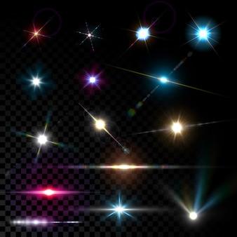 Realistyczne wektor świecące efekt świetlny flary obiektywu