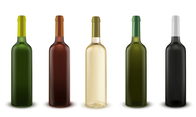 Realistyczne wektor zestaw butelek wina o różnych kolorach szkła.