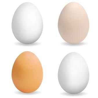 Realistyczne wielobarwne jajka. zestaw 3d jaj