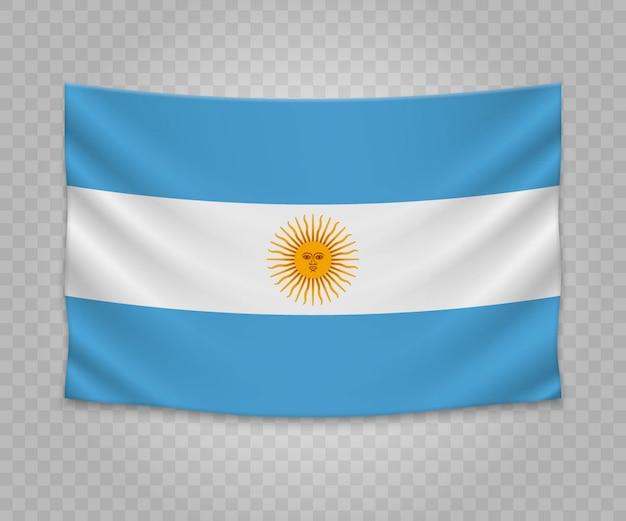 Realistyczne wiszące flagi argentyny