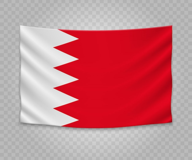 Realistyczne wiszące flagi bahrajnu