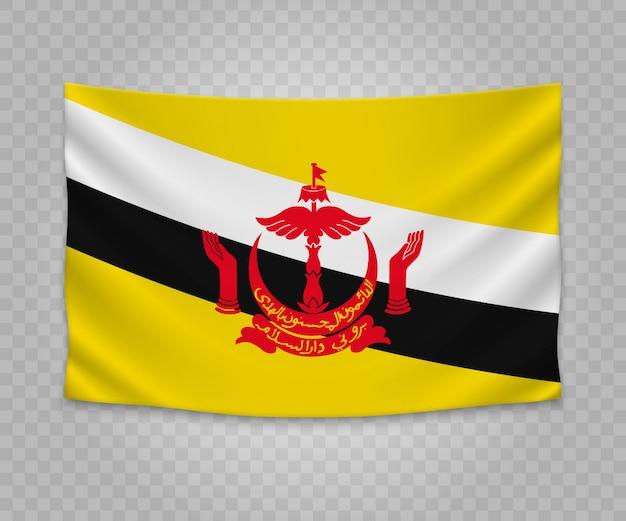 Realistyczne wiszące flagi brunei