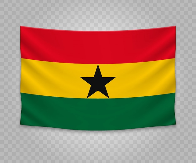 Realistyczne wiszące flagi ghany