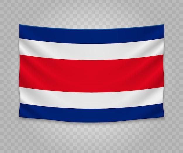 Realistyczne wiszące flagi kostaryki