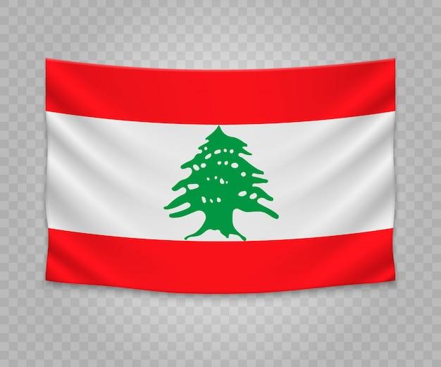 Realistyczne wiszące flagi libanu