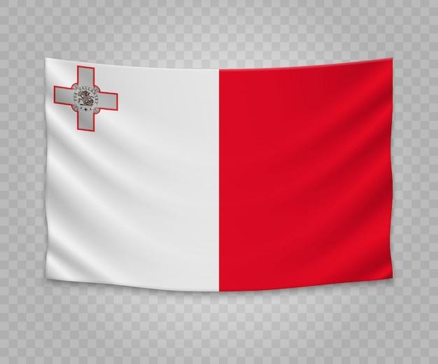 Realistyczne wiszące flagi malty