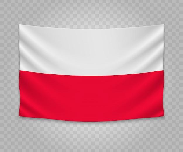 Realistyczne wiszące flagi polski