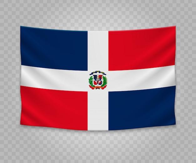 Realistyczne wiszące flagi republiki dominikańskiej