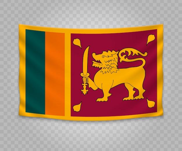 Realistyczne wiszące flagi sri lanki