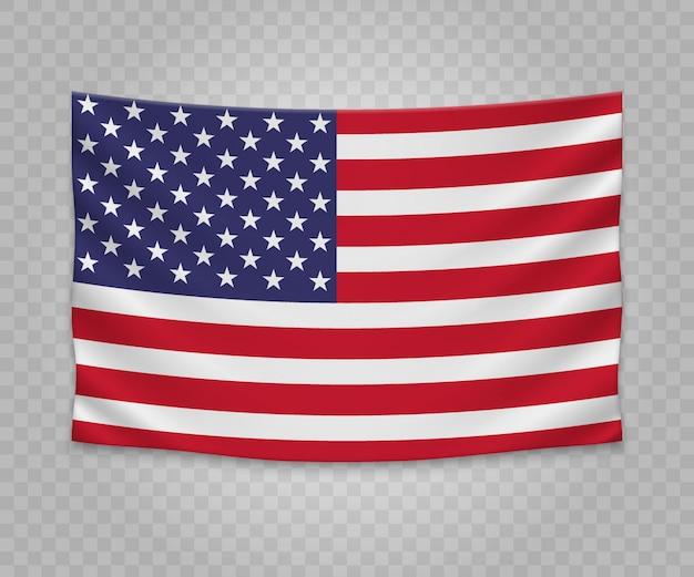 Realistyczne wiszące flagi stanów zjednoczonych