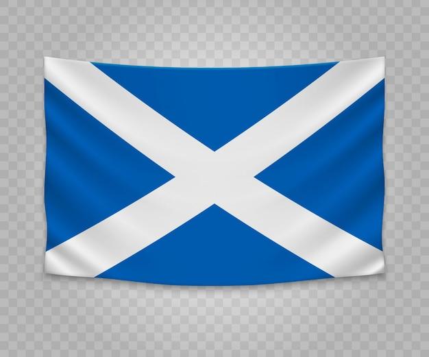 Realistyczne wiszące flagi szkocji