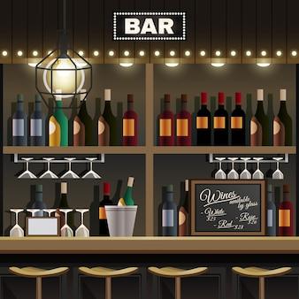 Realistyczne wnętrze baru