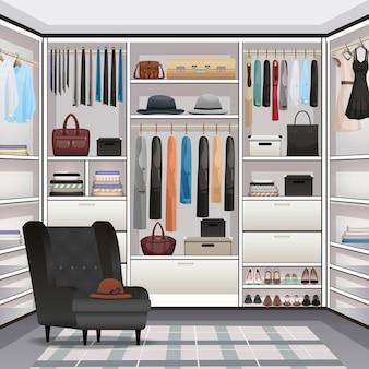 Realistyczne wnętrze garderoby garderoby