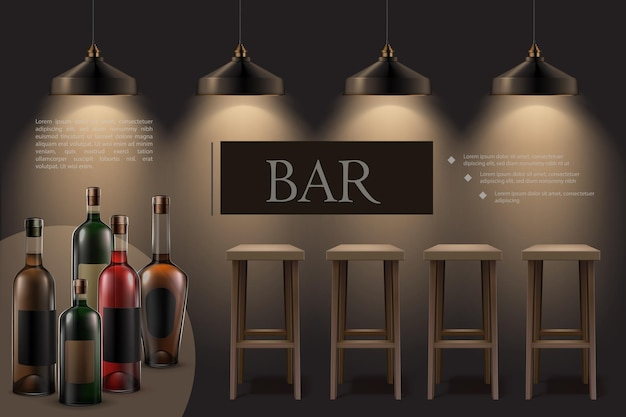 Realistyczne wnętrze kawiarni nocnej z wiszącymi świecącymi lampami drewniane stołki barowe butelki napojów alkoholowych