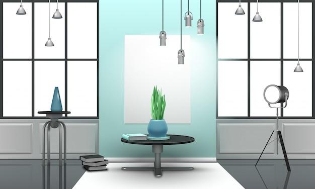Realistyczne wnętrze loft w jasnych kolorach