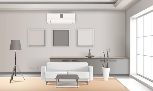 Realistyczne wnętrze salonu w jasnych kolorach