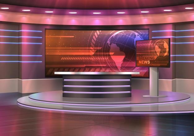 Realistyczne Wnętrze Studia Telewizyjnego Z Najświeższymi Wiadomościami Premium Wektorów
