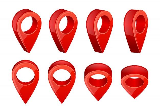 Realistyczne wskaźniki na mapie. różne symbole nawigacji gps