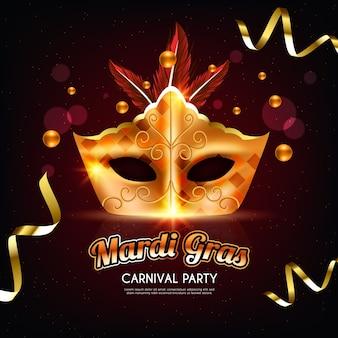 Realistyczne wzornictwo mardi gras ze złotą maską i wstążkami