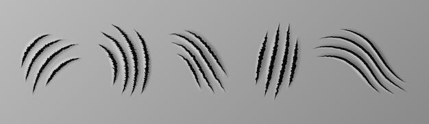 Realistyczne zadrapanie pazurem. cięcie papieru i ślady pazurów zwierząt, szorstkie dziury w płaskiej powierzchni, tkaninie lub papierze. ślady łap zwierząt kota, psa, tygrysa lub lwa. 3d ilustracji wektorowych