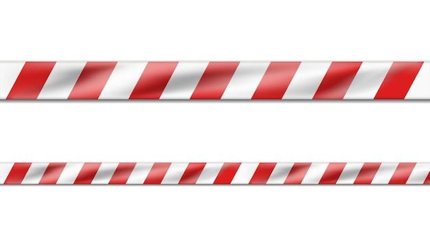 Realistyczne zagrożenie biało-czerwoną wstążką w paski, taśma ostrzegawcza znaków ostrzegawczych.