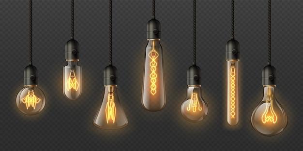 Realistyczne żarówki edisona. 3d retro wiszące lampy steampunkowe z żarówką. elektryczny dekoracyjny świecący zestaw wektorowy wisiorka