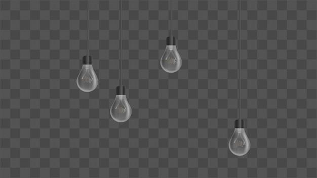 Realistyczne żarówki. żyrandol w stylu loft. element do projektowania wnętrz. ilustracja.