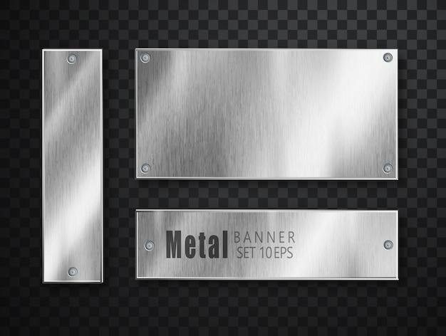 Realistyczne zestaw metalowych płyt. wektor metalowe płytki szczotkowane. realistyczny projekt 3d. stal nierdzewna