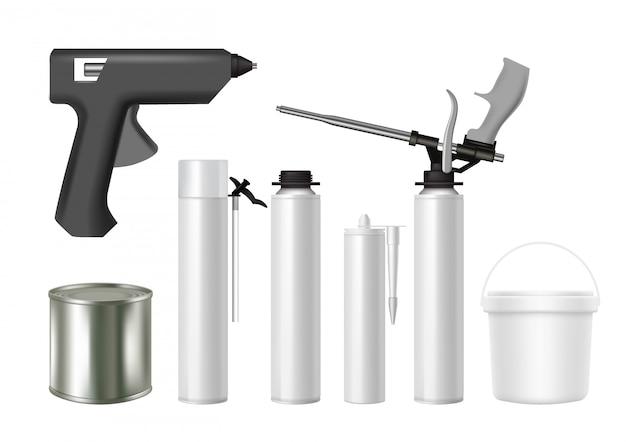 Realistyczne zestaw narzędzi budowlanych i materiałów budowlanych