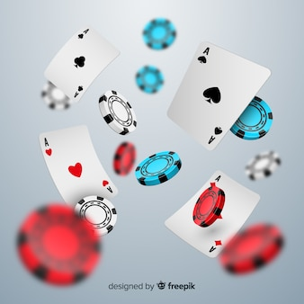 Realistyczne żetony kasyna i spadające karty