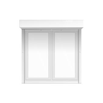 Realistyczne zewnętrzne podwójne okno zamknięte z białymi pustymi szablonami widoku na białym tle. element nowoczesnego budynku - ilustracja.