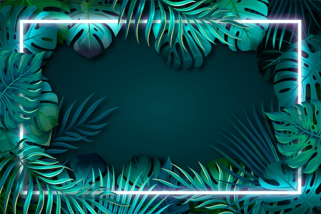 Realistyczne zielone liście z neonową ramką