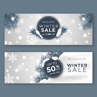 Realistyczne zimowe banery sprzedaż szablon