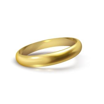 Realistyczne złota obrączka na białym tle symbol miłości i małżeństwa. realistyczny projekt ślubny. ilustracja wektorowa na białym tle