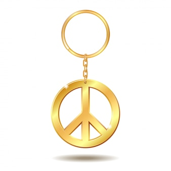 Realistyczne złote breloki do kluczy z symbolem pokoju na białym tle. ilustracja