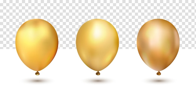 Realistyczne złote chromowane eleganckie kolekcje balonów ustawione na czarny piątek na przezroczystym tle