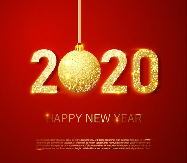 Realistyczne złote cyfry 2020 i świąteczne konfetti, gwiazdy i spiralne wstążki na czerwonym tle