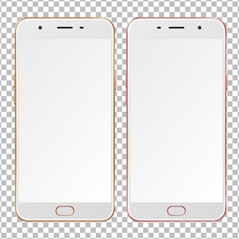 Realistyczne złote i różowe smartfony z pustymi ekranami.