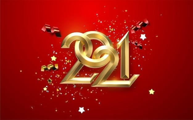 Realistyczne złote i srebrne cyfry 2021 z świątecznymi konfetti, gwiazdami i wstążkami na czerwonym tle. ilustracja wakacje. szczęśliwego nowego 2021 roku