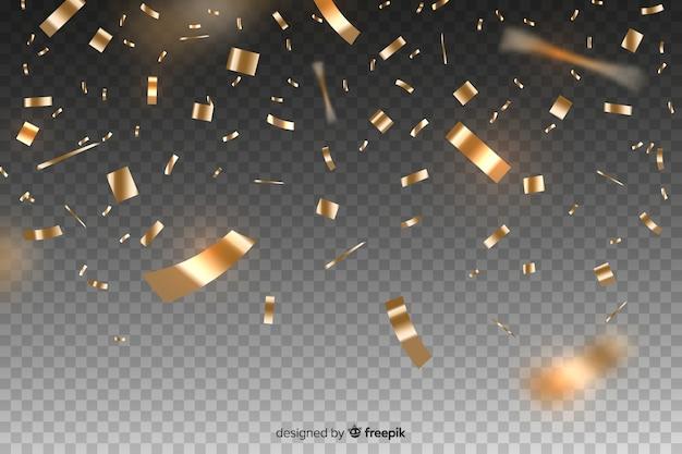 Realistyczne złote konfetti tło