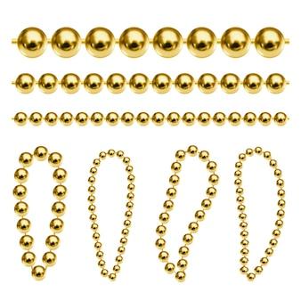 Realistyczne złote łańcuszki wektorowe luksusowe złote koraliki do naszyjnika lub bransoletki z brelokiem